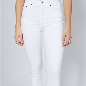 REDONE SIZE 28 white high rise ankle crop jeans